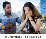 brunette woman crying after... | Shutterstock . vector #557337595