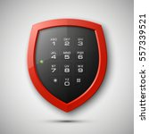 shield with electronic... | Shutterstock .eps vector #557339521
