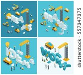 set isometric construction... | Shutterstock .eps vector #557347375
