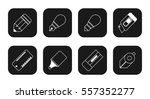 stationery flat icon set ... | Shutterstock .eps vector #557352277
