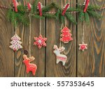 christmas gingerbread cookies... | Shutterstock . vector #557353645