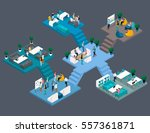 set trendy isometric people.... | Shutterstock .eps vector #557361871
