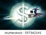 businessman on rocket flying... | Shutterstock . vector #557362141