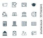 set of 16 school icons.... | Shutterstock .eps vector #557363641