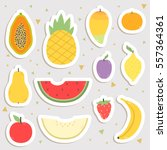 big set of cute cartoon fruits... | Shutterstock .eps vector #557364361