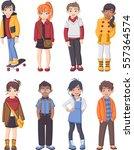 group of cartoon fashion... | Shutterstock .eps vector #557364574