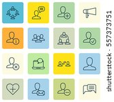 set of 16 communication icons.... | Shutterstock . vector #557373751