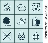 set of 9 eco friendly icons.... | Shutterstock . vector #557373781