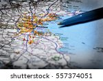 map for travel to locations... | Shutterstock . vector #557374051