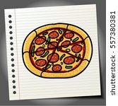 doodle style cartoon pizza   Shutterstock .eps vector #557380381
