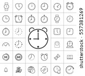 thin line clock  alarm icon on... | Shutterstock .eps vector #557381269