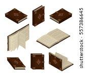 set of old books or tutorials.... | Shutterstock .eps vector #557386645