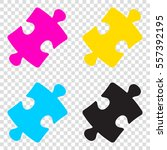 puzzle piece sign. cmyk icons...