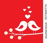 kiss of birds   romantic card...