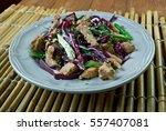 Small photo of Moo shu pork dish of northern Chinese. American Chinese cuisine