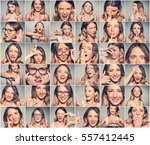 collage of a young attractive... | Shutterstock . vector #557412445