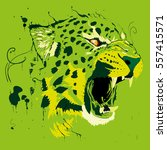 green abstract cheetah | Shutterstock .eps vector #557415571