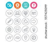 education icons. graduation cap ... | Shutterstock . vector #557425099