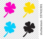 leaf clover sign. cmyk icons on ...