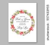alstroemeria wedding invitation ... | Shutterstock .eps vector #557433955