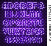 glowing purple alphabet with... | Shutterstock .eps vector #557441095