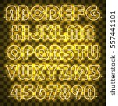 glowing yellow alphabet with... | Shutterstock .eps vector #557441101