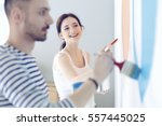 portrait of happy smiling young ...   Shutterstock . vector #557445025