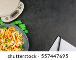 concept of dieting  counting... | Shutterstock . vector #557447695