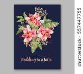 alstroemeria wedding invitation ... | Shutterstock .eps vector #557447755