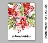 alstroemeria wedding invitation ... | Shutterstock .eps vector #557451205