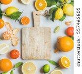 variety of fresh citrus fruit... | Shutterstock . vector #557463805