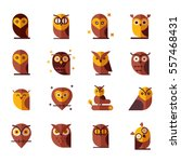 Stock vector owl color vector illustration collection set of flat owls unique illustration for design 557468431