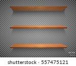 vector empty wooden shelves... | Shutterstock .eps vector #557475121