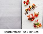 appetizers mix flat lay  free... | Shutterstock . vector #557484325