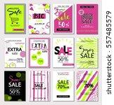 big set of social media sale... | Shutterstock .eps vector #557485579