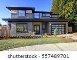 new construction home exterior... | Shutterstock . vector #557489701