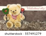 teddy bear with red hearts... | Shutterstock . vector #557491279