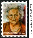 Small photo of GREAT BRITAIN - CIRCA 2006: A used postage stamp from the UK, depicting an image of a painting of historic nurse Dame Cicely Saunders which is on display at the National Portrait Gallery, circa 2006.