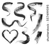 set of black mascara strokes... | Shutterstock . vector #557499595
