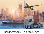 world wide cargo transport or... | Shutterstock . vector #557500225