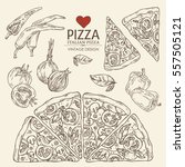 collection of pizza with chili... | Shutterstock .eps vector #557505121
