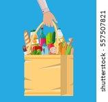 paper shopping bag full of... | Shutterstock .eps vector #557507821