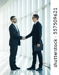 Small photo of Boss and manager agree handshake in office panoramic room