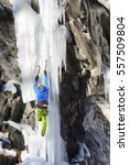 ice and rocks climbing in... | Shutterstock . vector #557509804