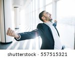 incredible joy of businessman.... | Shutterstock . vector #557515321