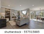 Living Room Interior In Gray...