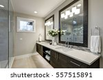 spacious bathroom in gray tones ... | Shutterstock . vector #557515891