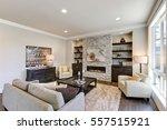 living room interior in gray... | Shutterstock . vector #557515921
