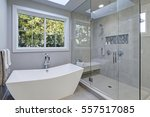 glass walk in shower with gray... | Shutterstock . vector #557517085
