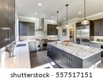 modern gray kitchen features... | Shutterstock . vector #557517151